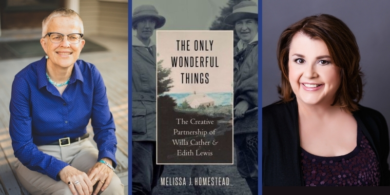 portrait of Melissa Homestead '85, the cover of The Only Wonderful Things; and portrait of Bethanne Patrick '85