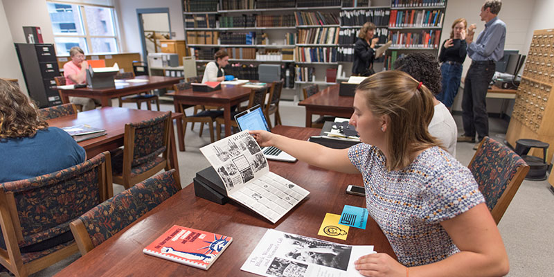 Researchers in the Special Collections Reading Room